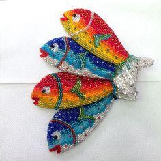 Boncuk İşleme Balık Broş/ Kolye Beadwork Fish