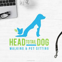 Logo Design for Head To Tail Dog Walking and Pet Sitting #dogwalkinglogo #petsittinglogo #petdesign #petbusiness #silhouettepetlogo