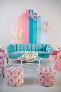 Gallery - If Lisa Frank Had a Pastel Rainbow Wedding This Would Be It Pastel Living Room, Pastel Room, Living Room Colors, Living Room Designs, Living Room Decor, Bedroom Decor, Colourful Lounge, Kawaii Room, Home Room Design