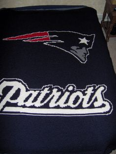 crocheted afghan with nfl logos | Crocheted New England Patriots Afghan