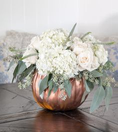 copper pumpkin centerpiece for Thanksgiving table