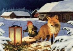 Scandinavian Swedish Christmas Poster Print Fox Tomte Gnome J Bergerlind Boxed Christmas Cards, Christmas Poster, Merry Christmas, Scandinavian Gnomes, Scandinavian Christmas, Art Fox, Norwegian Christmas, Creation Photo, All Nature