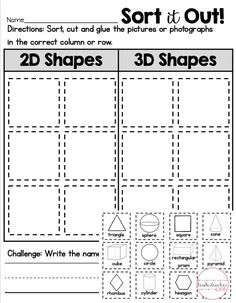 Sort 2D and 3D shape