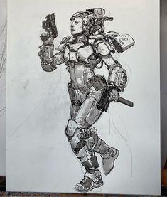 Caricatures, Sun Ken Rock, War Pigs, Robot Concept Art, Art Addiction, Futuristic Art, Cyberpunk Art, Manga Drawing, Art Portfolio