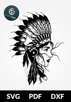 NATIVE AMERICAN WOMAN >> You are buying the digital template of this cut only, not a finished cut. This file is ready to be used with your Cricut, Silhouette Cameo, Brother, or similar cutting machines. The template can be scaled to any size you ne Art Sketches, Art Drawings, Girl Face Tattoo, Native Tattoos, Native American Headdress, Paper Cutting Templates, American Tattoos, Tattoo Flash Art, Tatoo