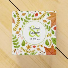 Fall watercolor leaves wedding bridal shower favor favor boxes