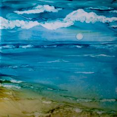 Moon rising alcohol ink on tile by Lin Crocco