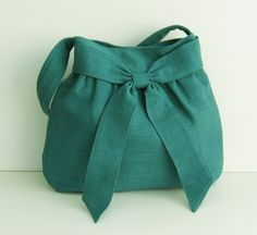 Sale  Teal Hemp/Cotton Bag tote purse messenger work by tippythai, $34.00