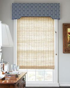 here's an example of what I'd like to see but i'd rather 1  large shade extending  the length full length of your window.  This one is more privacy than needed. You can do one more like the ones in my home.  They filter light but allow a view and they are less expensive and can be added later.  This is also an example of a valance over the window. Again, I would start your valance at the ceiling in order to bringing the eye up and making the back wall feel taller.