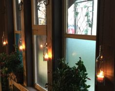 Wine Bottle Candle Holder Hanging Hurricane Lanterns Set of 4 Clear Glass Outdoor Lighting