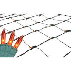 4' x 6' Orange Mini Net Style Christmas Lights - Green Wire