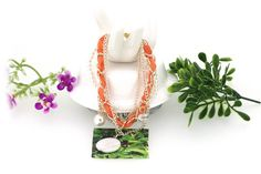 Coin and Crystal Pearl Pendant Orange Woven Bracelets