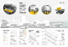 Results for the New York Theater City International Architecture Competition for Students organized by Archmedium Architecture Panel, Architecture Graphics, Architecture Student, Architecture Portfolio, Architecture Design, Architecture Models, Landscape Architecture, Architecture Presentation Board, Presentation Boards