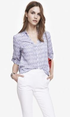 EIFFEL TOWER PRINT PORTOFINO SHIRT from EXPRESS
