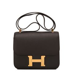 #Hermes Constance #Bag Black Epsom Gold Hardware