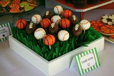 For a sports-themed birthday party, cake balls in football, baseball and basketball are must-haves!