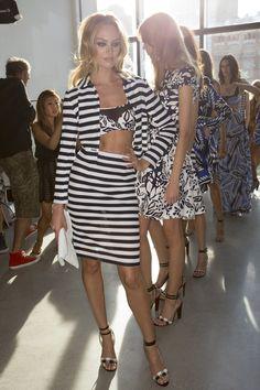 Candice Swanepoel backstage at Diane von Furstenberg Spring 2015 Ready-To-Wear, New York Fashion Week