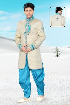 Look trendy yet traditionally stunning with this Cream Brocade Men's Indo Western. Buy Now:-  http://bit.ly/1ronfGf