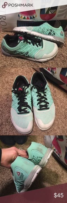 Reebok nano Reebok nano is in good condition. Color: Mint green,  gray, and black. Reebok Shoes Athletic Shoes
