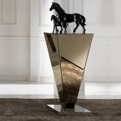Glass Graduated Ornamental Pedestal at Juliettes Interiors. Luxury Interior, Home Interior Design, Interior Decorating, Display Pedestal, Sculpture Stand, Boutique Decor, Glass Vanity, Glass Furniture, Ornaments Design