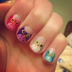 trendi körmök   Owl nails! Not perfect but I'm pretty happy with how they came out ...