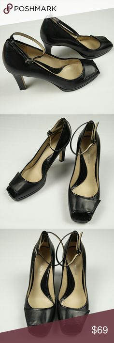 Enzo Angiolini Leather Peep toe Pump Ankle Strap 8 Enzo Angiolini Leather Peep toe Pump Ankle Strap BLACK LEATHER, PATENT LEATHER TRIMS,  HEEL AND STRAPS SCULPTED HEEL GOOD PRE-OWNED CONDITION  I WORE THEM WITH SILK LACE SOCKS AND WERE STOPPED ON THE STREET NUMEROUS TIMES :))   PETS AND SMOKE FREE HOUSE  WILL SHIP WITHIN 24 HOURS FROM CLEARED PAYMENT Enzo Angiolini Shoes Heels