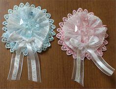 wedding guest lapel ribbons   Baptism / Communion Corsage (Capias) W/Fancy Ribbons & Cross