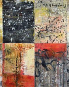 Laura Wait MuraLingua 36x40 2012, encaustic, kozo paper, sumi ink on panel