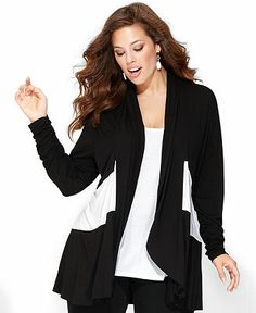 INC International Concepts Plus Size Top, Long-Sleeve Colorblocked Layered-Look - Plus Size Tops - Plus Sizes - Macy's