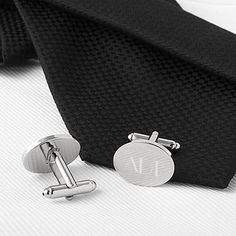 Select Gifts Pair Dome Brown Stripe Cufflinks Optional Engraved Personalised Box