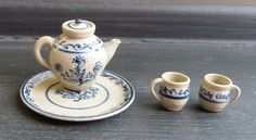 IGMA Artisan Jane Graber Miniature Floral Tea for Two Set 1 12 Scale Stoneware | eBay