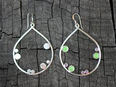 Hoop silver earrings lime violet enamel dot art jewelry by anluz