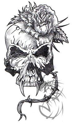Skull with a Rose by CrashJensen on deviantART