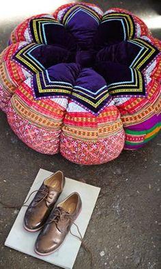 Velvet embroidered pouffe - Plümo Ltd Bohemian Decor, Bohemian Style, Boho Hippie, Textiles, Pillow Room, Floor Cushions, Soft Furnishings, Color Inspiration, Diy Furniture