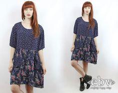 Vintage 90s Soft Grunge Blue Floral Dress 2X 3X 90s by shopEBV