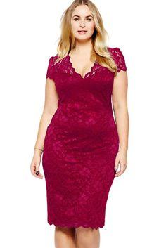 Grande Taille Robes Bordeaux Festonnee Encolure En V Dentelle Midi Robe Pas Cher www.modebuy.com @Modebuy #Modebuy #CommeMontre #Grande #dress #robes