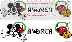Andrea nome con Topolino schema punto croce gratis