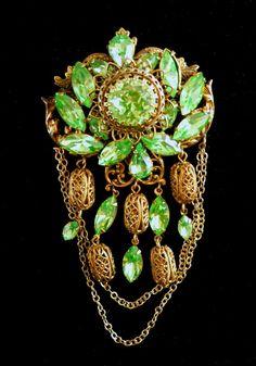 Green Rhinestone Swag Brooch-Pendant Filigree by RenaissanceFair