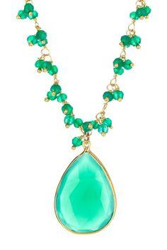 Urban Posh  Faceted Green Quartz Pendant on a Green Onyx Bead Necklace - http://www.hautelook.com/short/3AL7U