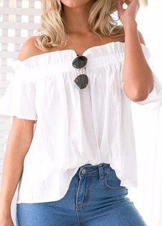 Women Clothing Ruffle Off Shoulder Tops Beach Summer Blusas Solid Chiffon Blouse Slash Neck Loose Short Sleeve Sexy Shirts White Off Shoulder, Off Shoulder Tops, Off Shoulder Blouse, Shoulder Sleeve, White Ruffle Blouse, Ruffle Shorts, Ruffle Trim, Ruffle Collar, Collar Blouse