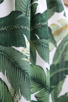 Outdoor - Swaying Palms, Aloe - Back patio accent Leaf Curtains, Curtain Fabric, Dublin House, British Colonial Style, Gorgeous Fabrics, Affordable Furniture, Cool Tones, Home Decor Fabric, Green Fabric