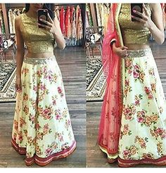 Typify Bollywood Semistitched Floral Lehenga - http://weddingcollections.co.in/product/typify-bollywood-semistitched-floral-lehenga/