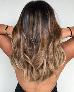 brunette with caramel balayage