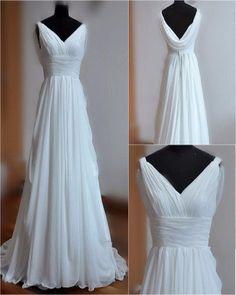 AHW024 A-line V-neck Floor Length Sweep Train Chiffon Beach Wedding Dresses 2017
