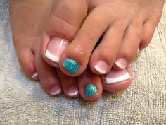 French gel toes with a twist of glitter toe