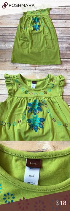 Tea Collection Size 5 green Tea Collection dress. Floral print. Flutter sleeves. Front pockets. 100% cotton. No stains. Very good to excellent condition. Tea Collection Dresses