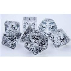 RPG Dice Set (Elf Rune Black Ice) role playing game dice + bag