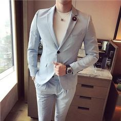 (jacket+pants) Spring and summer Mens suits tuxedo mandarin wedding dress 2017 prom dresses suits for men 2 Pieces designer suit