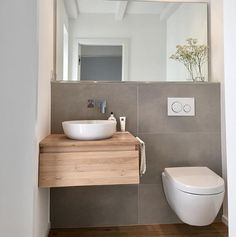 Image may contain: Interior - Bad - Badezimmer Small Toilet Room, Guest Toilet, Downstairs Toilet, Small Bathroom, Toilette Design, Wc Design, Small Guest Rooms, Salon Interior Design, Bathroom Inspiration