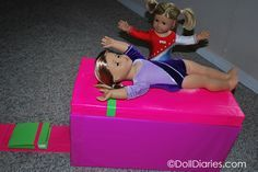 """How to make a gymnastics vault for American Girl McKenna or other 18"""" dolls. Full tutorial at www.dolldiaries.com"""